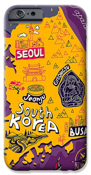 Buddhism iPhone 6 Case - Illustrated Map Of South Korea by Daria i