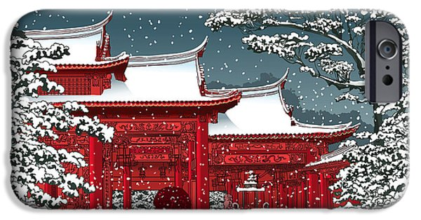 Buddhism iPhone 6 Case - Japanese Or Chinese Temple Under Snow - by Isaxar