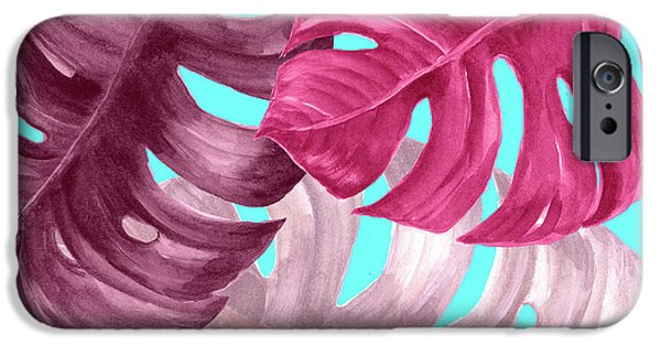 Dissing iPhone 6 Case - Monstera Leaf In Pink  by Mark Ashkenazi