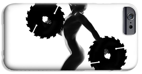 Nude Figurative iPhone 6 Case - Nude Woman With Saw Blade 4 by Johan Swanepoel