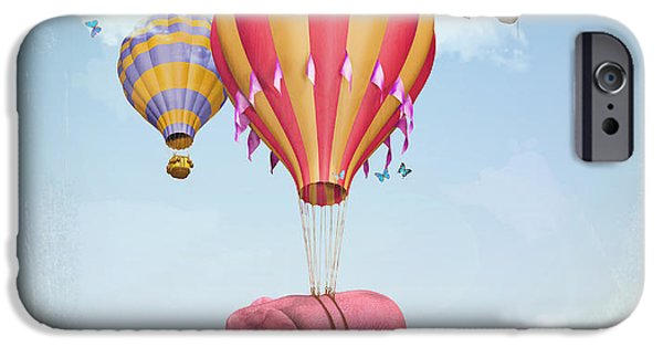 Illusion iPhone 6 Case - Pink Elephant In The Sky With Balloons by Ganna Demchenko