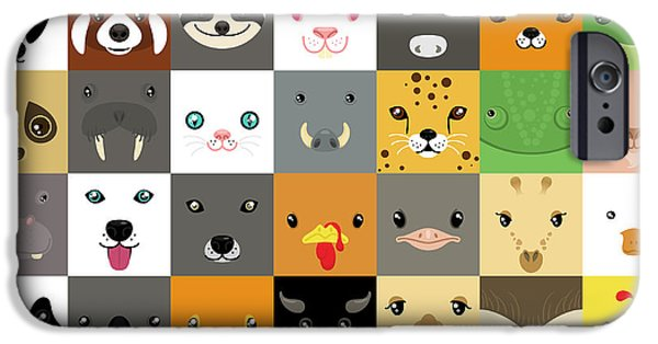 Bat iPhone 6 Case - Set Of Cute Simple Animal Faces by Olesia Misty