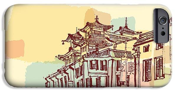 Buddhism iPhone 6 Case - Singapore China Town Drawing. Vintage by Babayuka