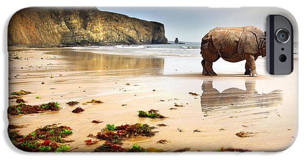 Illusion iPhone 6 Case - Surreal Scene Of A Big Rhinoceros In An by Carlos Caetano