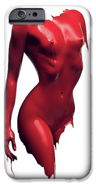 Nude Figurative iPhone 6 Case - Woman Body Red Paint by Johan Swanepoel