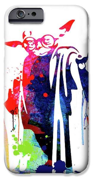 Yoda iPhone 6 Case - Yoda Wearing Classes Watercolor by Naxart Studio