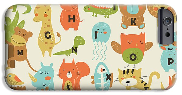 Bat iPhone 6 Case - Zoo Alphabet With Cute Animals In by Kaliaha Volha