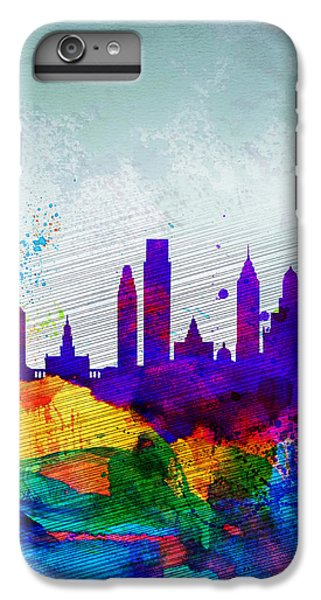 Philadelphia Watercolor Skyline IPhone 6 Plus Case by Naxart Studio