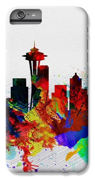 Seattle Watercolor Skyline 2 IPhone 6 Plus Case by Naxart Studio