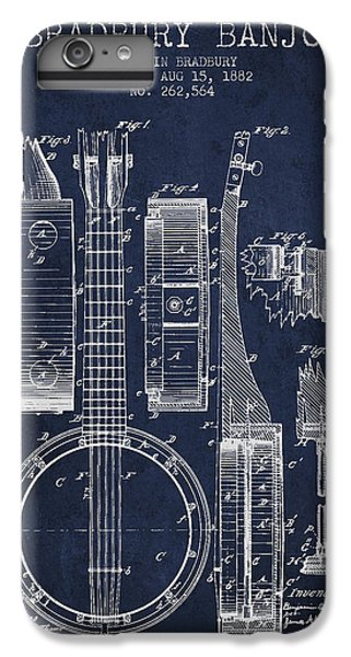 Folk Art iPhone 6 Plus Case - Banjo Patent Drawing From 1882 - Blue by Aged Pixel