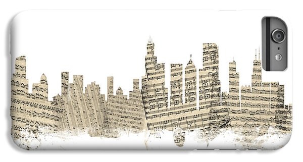 Chicago Illinois Skyline Sheet Music Cityscape IPhone 6 Plus Case by Michael Tompsett