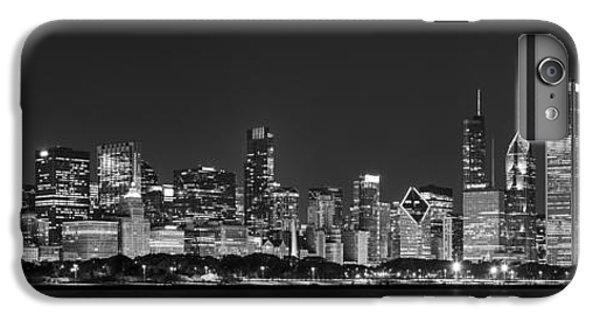 Chicago Skyline At Night Black And White Panoramic IPhone 6 Plus Case by Adam Romanowicz