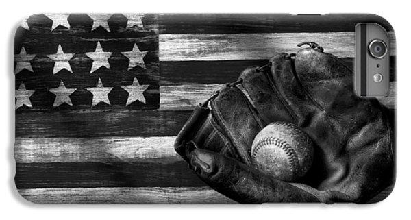 Folk Art American Flag And Baseball Mitt Black And White IPhone 6 Plus Case