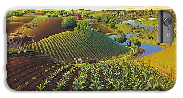 Rural Scenes iPhone 6 Plus Case - Harvest Panorama  by Robin Moline