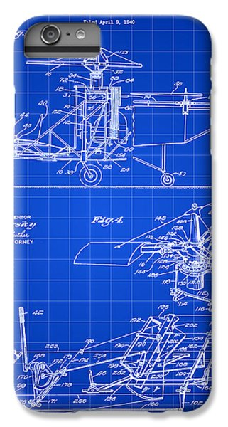 Helicopter iPhone 6 Plus Case - Helicopter Patent 1940 - Blue by Stephen Younts
