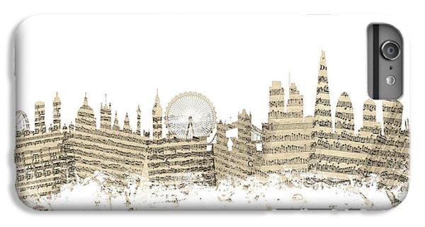 London England Skyline Sheet Music Cityscape IPhone 6 Plus Case by Michael Tompsett