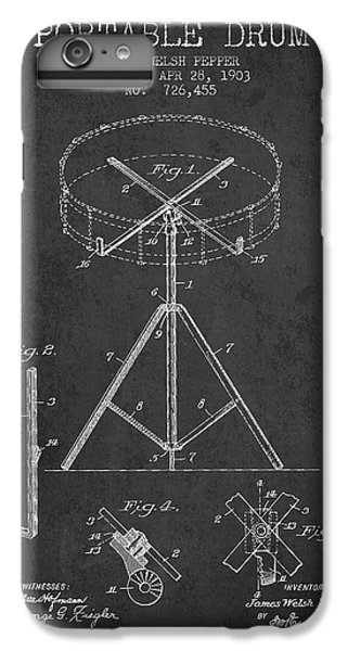 Folk Art iPhone 6 Plus Case - Portable Drum Patent Drawing From 1903 - Dark by Aged Pixel