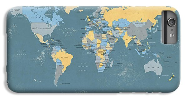 Planets iPhone 6 Plus Case - Retro Political Map Of The World by Michael Tompsett