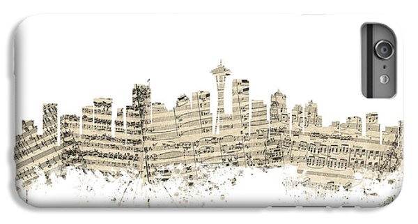 Seattle Washington Skyline Sheet Music Cityscape IPhone 6 Plus Case by Michael Tompsett