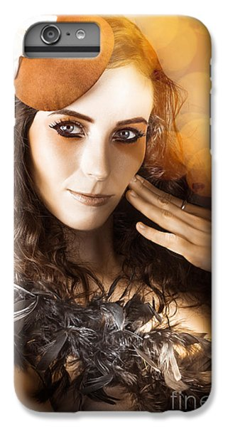 Vintage Style Actress Performing In French Beret IPhone 6 Plus Case