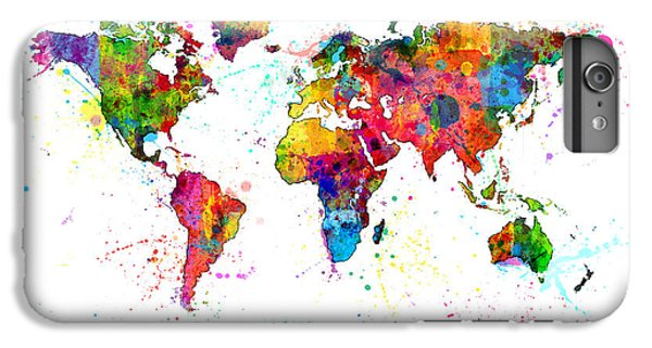 Planets iPhone 6 Plus Case - Watercolor Political Map Of The World by Michael Tompsett