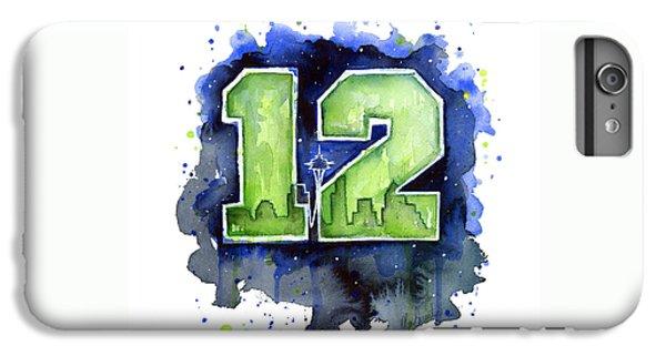 12th Man Seahawks Art Seattle Go Hawks IPhone 6 Plus Case by Olga Shvartsur
