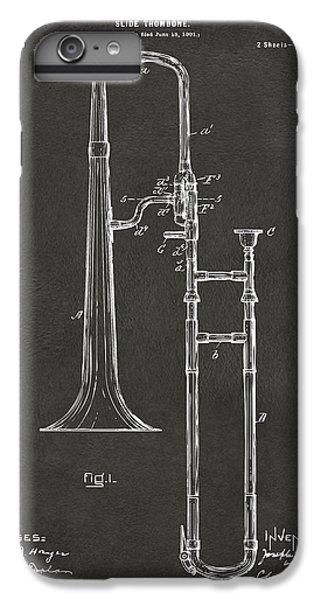 Trombone iPhone 6 Plus Case - 1902 Slide Trombone Patent Artwork - Gray by Nikki Marie Smith