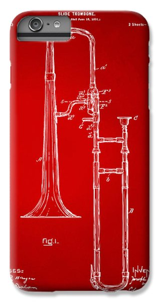 Trombone iPhone 6 Plus Case - 1902 Slide Trombone Patent Artwork Red by Nikki Marie Smith