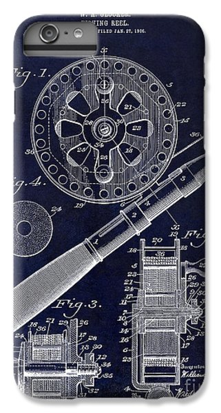 1906 Fishing Reel Patent Drawing Blue IPhone 6 Plus Case