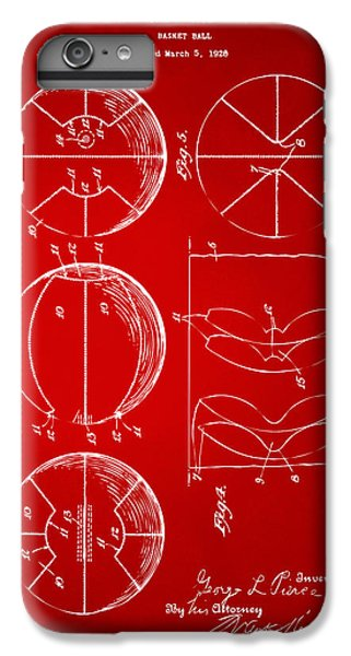 1929 Basketball Patent Artwork - Red IPhone 6 Plus Case by Nikki Marie Smith