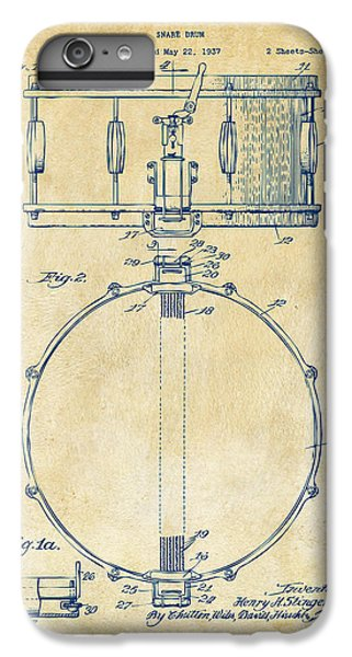1939 Snare Drum Patent Vintage IPhone 6 Plus Case by Nikki Marie Smith