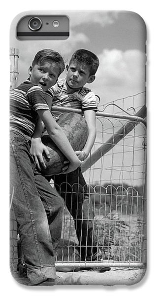 1950s Two Farm Boys In Striped T-shirts IPhone 6 Plus Case