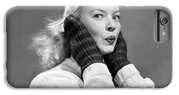 Knit Hat iPhone 6 Plus Case - 1950s Young Woman Pursing Lips Hands by Vintage Images
