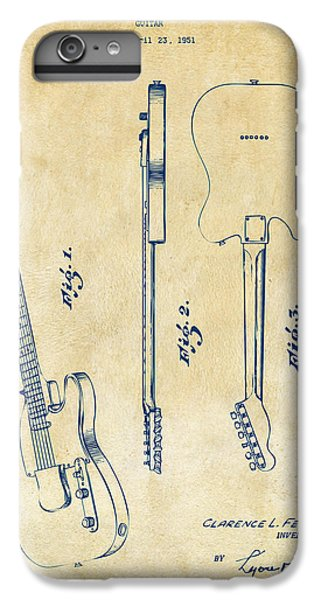Guitar iPhone 6 Plus Case - 1951 Fender Electric Guitar Patent Artwork - Vintage by Nikki Marie Smith