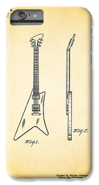 Guitar iPhone 6 Plus Case - 1958 Gibson Guitar Patent by Mark Rogan