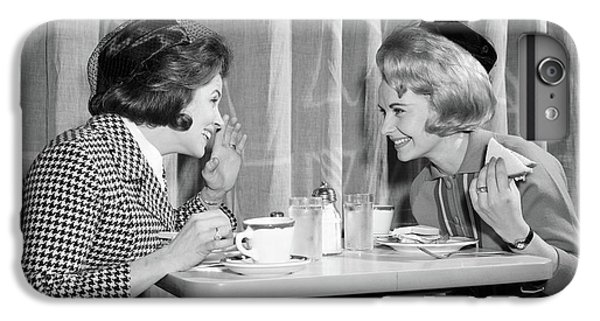 Knit Hat iPhone 6 Plus Case - 1960s Two Women Gossiping At Lunch by Vintage Images