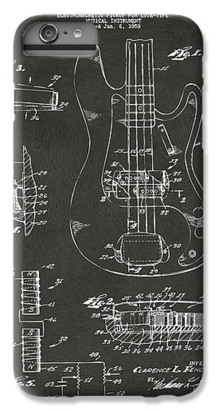 1961 Fender Guitar Patent Artwork - Gray IPhone 6 Plus Case by Nikki Marie Smith