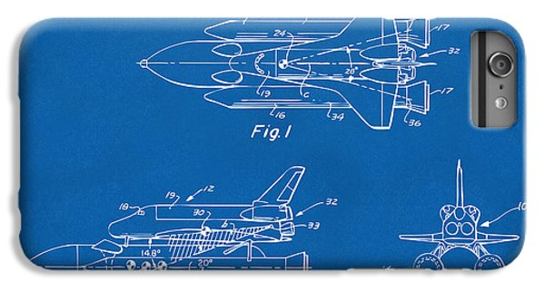 Space Ships iPhone 6 Plus Case - 1975 Space Shuttle Patent - Blueprint by Nikki Marie Smith