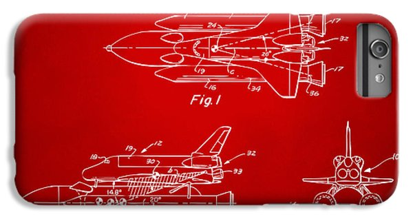 Space Ships iPhone 6 Plus Case - 1975 Space Shuttle Patent - Red by Nikki Marie Smith