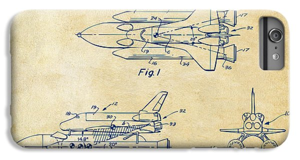 Space Ships iPhone 6 Plus Case - 1975 Space Shuttle Patent - Vintage by Nikki Marie Smith