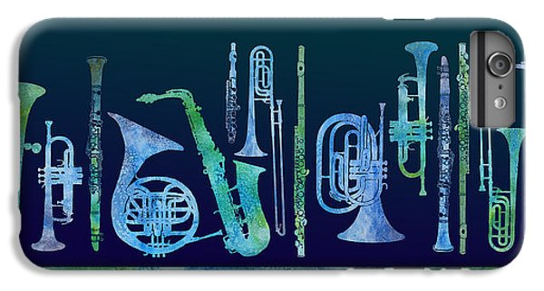 Trombone iPhone 6 Plus Case - Cool Blue Band by Jenny Armitage