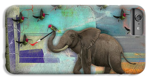 Elephant Painting Birds Out Of Thin Air. IPhone 6 Plus Case by Marvin Blaine