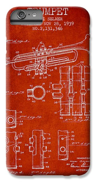 Trumpet Patent From 1939 - Red IPhone 6 Plus Case by Aged Pixel