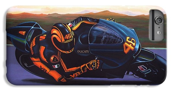 Motorcycle iPhone 6 Plus Case - Valentino Rossi On Ducati by Paul Meijering
