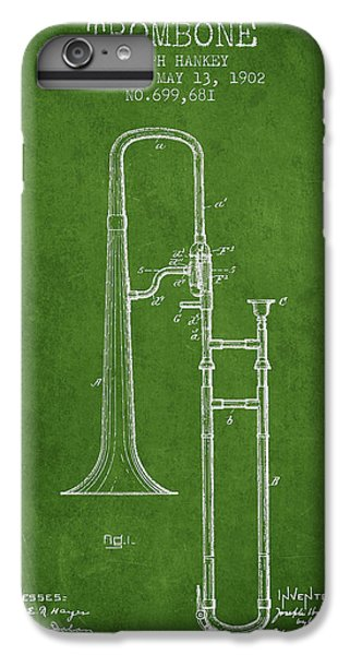 Trombone iPhone 6 Plus Case - Trombone Patent From 1902 - Green by Aged Pixel