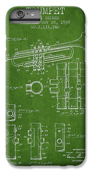 Trumpet Patent From 1939 - Green IPhone 6 Plus Case by Aged Pixel