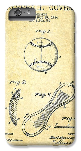Baseball Cover Patent Drawing From 1924 IPhone 6 Plus Case by Aged Pixel