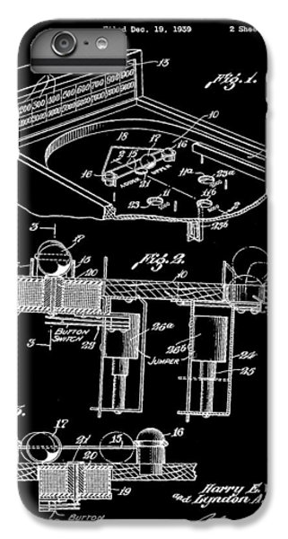 Elton John iPhone 6 Plus Case - Pinball Machine Patent 1939 - Black by Stephen Younts