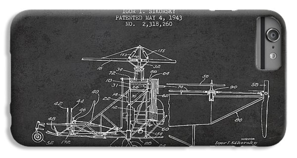 Helicopter iPhone 6 Plus Case - Sikorsky Helicopter Patent Drawing From 1943 by Aged Pixel