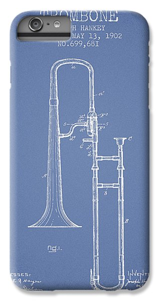 Trombone iPhone 6 Plus Case - Trombone Patent From 1902 - Light Blue by Aged Pixel